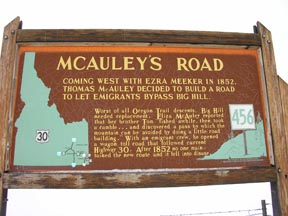 MCauley Road on the Oregon Trail Highway Marker